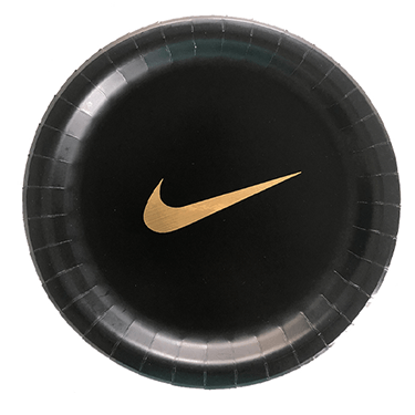 NIKE black party plates 10 count, NIKE, NIKE party, NIKE party supplies, NIKE party plates, NIKE birthday decor