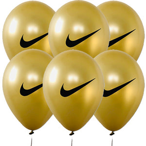 Gold NIKE Balloons 6 count, NIKE, NIKE Balloons, Nike Party