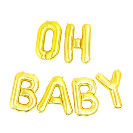 "Gold ""Oh Baby"" Foil Balloon 16"""