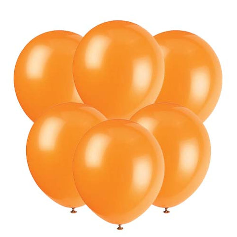 Orange latex 12 inch party balloons 6 count