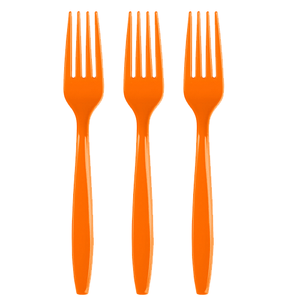 Orange Plastic Forks 24 Count, Orange Cutlery, Orange Party Utensils, Orange Tableware, Orange
