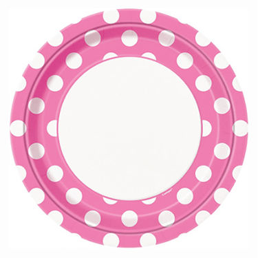 Pink Polkadot Party Plates 8 Count, Pink Party Plates, Pink Tableware, Mini Mouse, Mini Mouse Birthday, Mini Mouse Party, Baby Shower