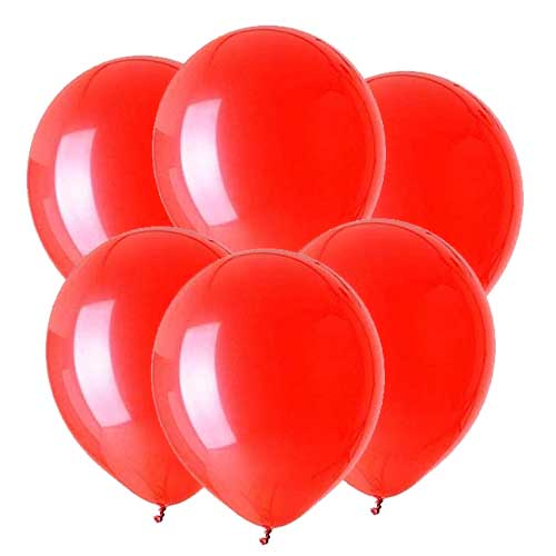 Red latex 12 inch party balloons 6 count