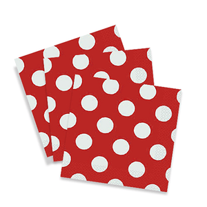 Red Polkadot Lunch Napkins 15 Count