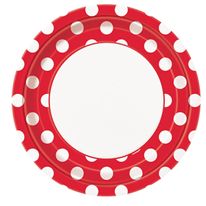 red polkadot party plates 8 count, red polkadot plates, red polkadots, red tableware, Mickey Mouse, Mickey Mouse Birthday, Mickey Mouse Party, Mickey Mouse Party Supplies