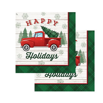 Red Truck Holiday Party Napkins 16 Count, Holiday Party Decor, Red Truck Holidays, Christmas Party Ideas