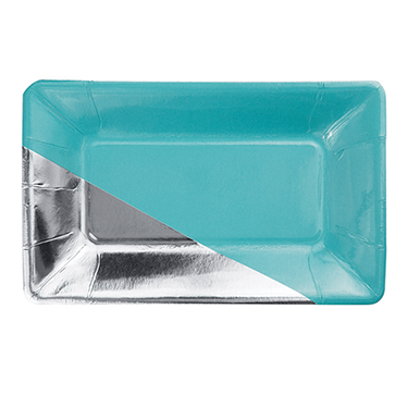 teal and silver rectangle snack plates 8 count, teal party plates, silver party plates, rectangle plates, bridal shower, birthday party plates, engagement party, baby shower party plates