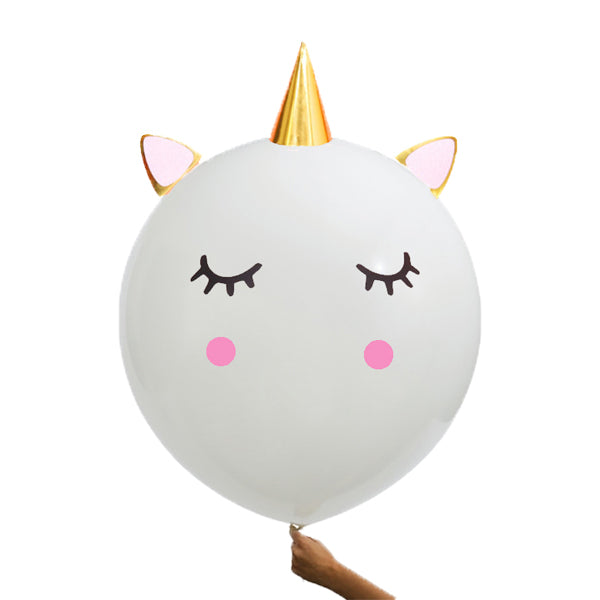 "Giant 36"" White Unicorn Head Latex Balloon"
