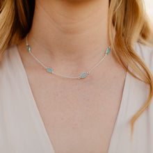 Load image into Gallery viewer, Essence Short Series Necklace Silver and Aqua Chalcedony