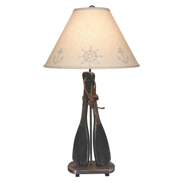2 Paddle Walnut Navy Table Lamp