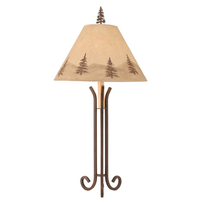 3 Leg Iron Table Lamp Pine Tree Shade
