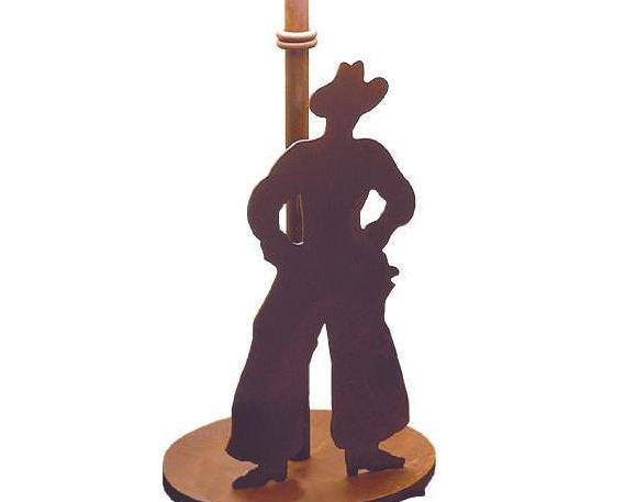 Cowboy Silhouette Table Lamp Base Close-up