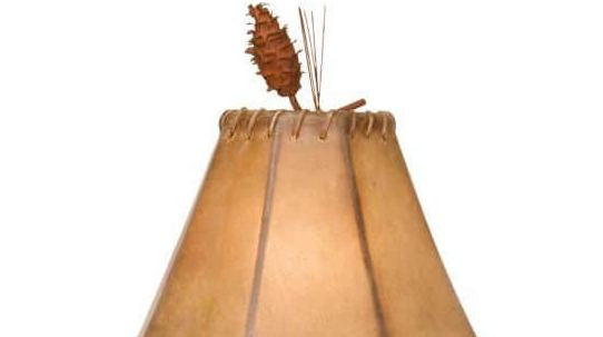 Saranac Pine Cone Table Lamp Shade Finial Close-up