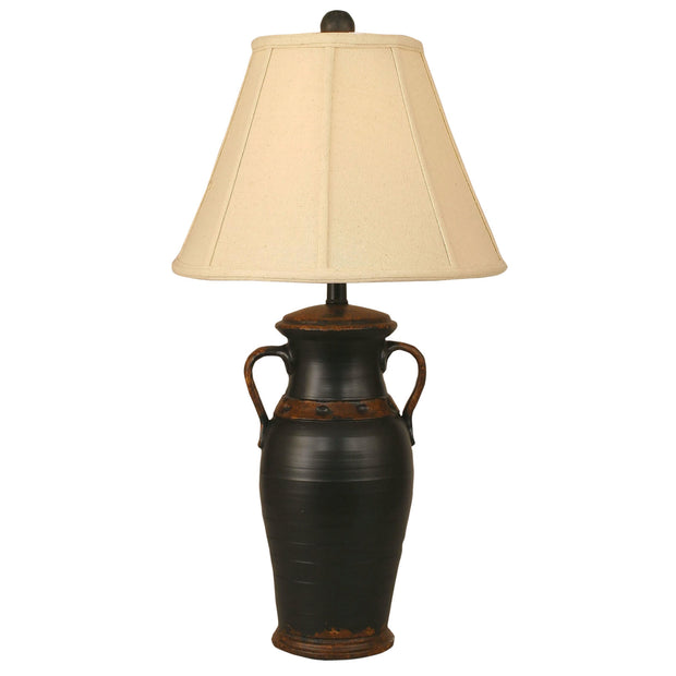 Aged Black 2 Handle Vase Table Lamp