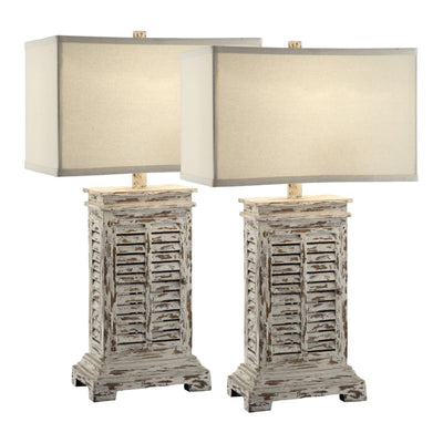 Antique Shutter Table Lamp Set of 2