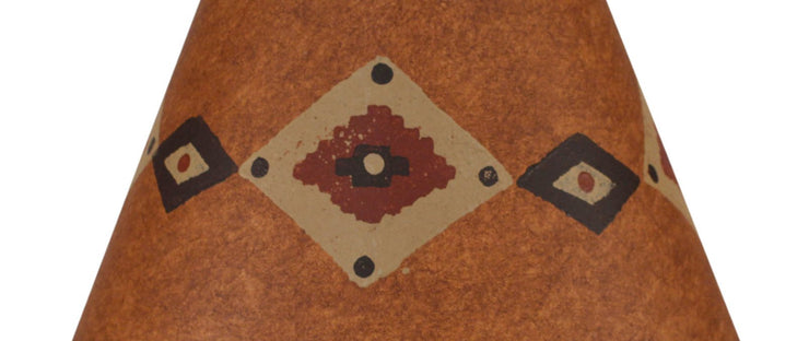 Band of Diamonds Rustic Brown Stained Lamp Shade Close-up