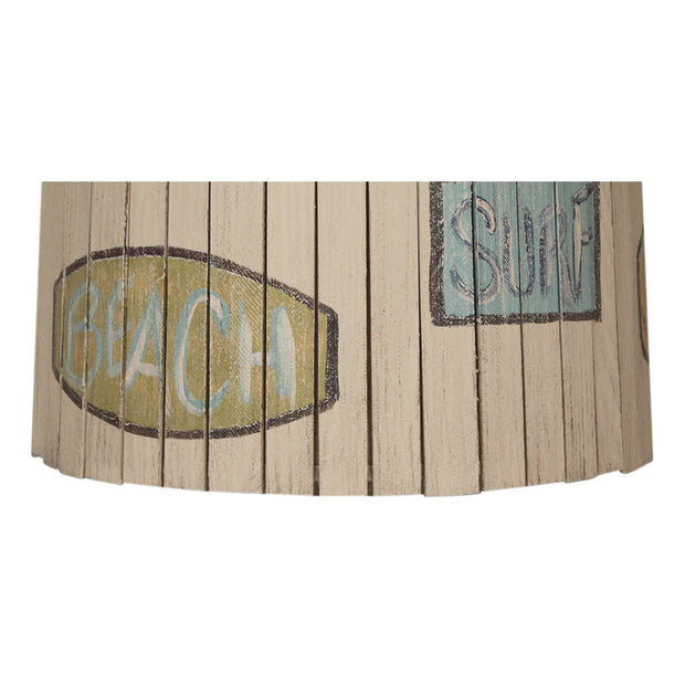 Beach Signs Wood Panel Lamp Shade Close-up