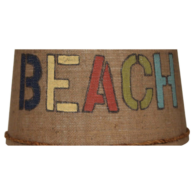 Beach Stenciled Drum Burlap Lamp Shade Close-up