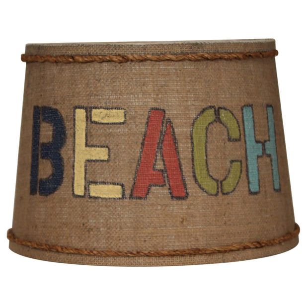 Beach Stenciled Drum Burlap Lamp Shade