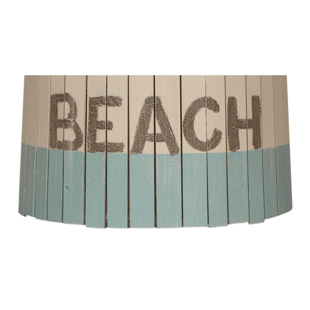 Beach Turquoise Weathered White Wood Panel Lamp Shade Close-up