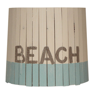 Beach Turquoise Weathered White Wood Panel Lamp Shade