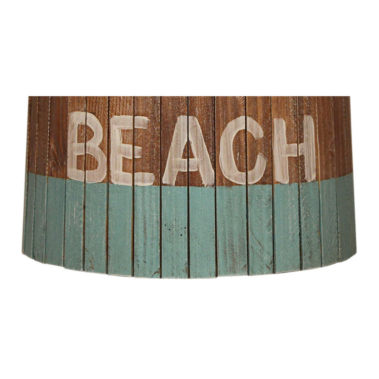 Beach Turquoise Weathered Wood Panel Lamp Shade Close-up