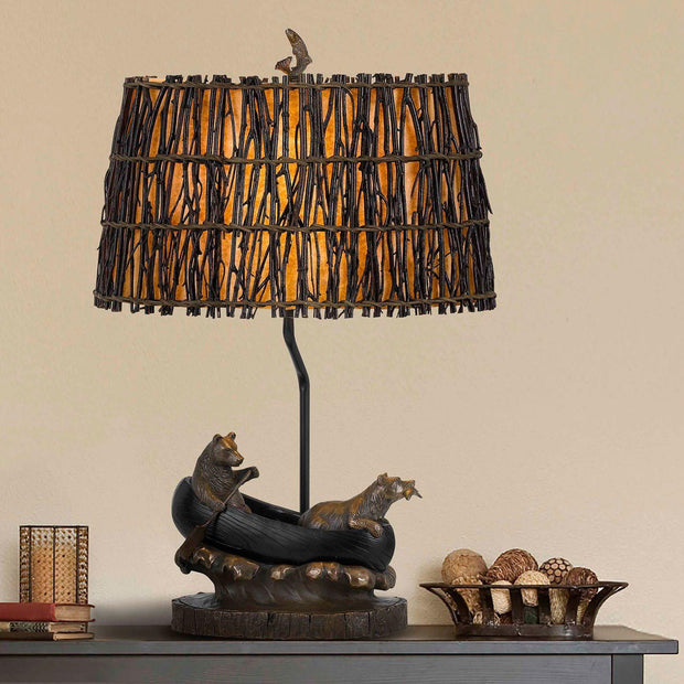 Bears in Canoe Table Lamp Scene