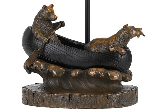 Bears in Canoe Table Lamp Base Close-up