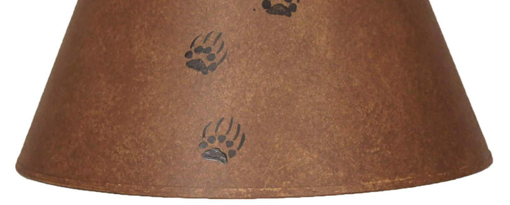 Bear Tracks Rustic Brown Lamp Shade Close-up