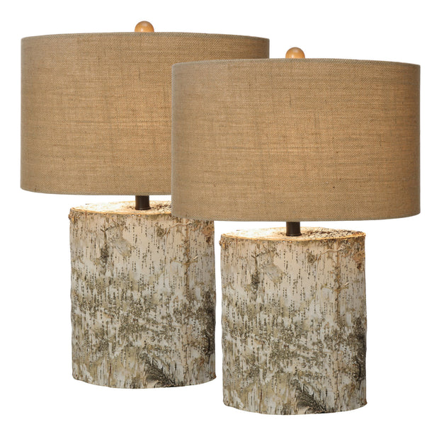 Birch Wood Table Lamp Set
