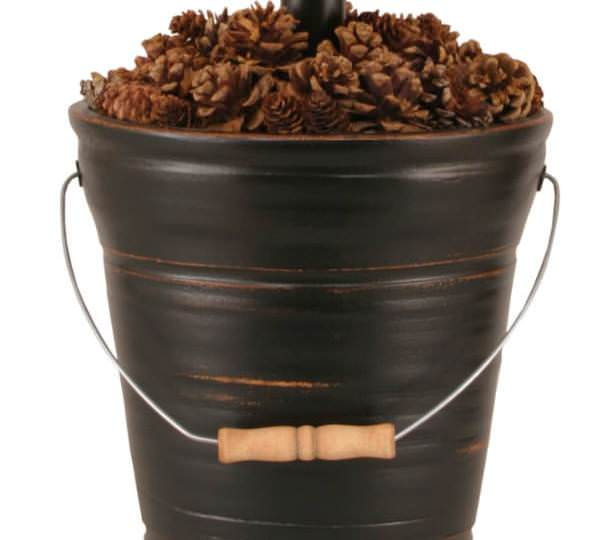 Distressed Black Bucket of Pine Cones Table Lamp Base Close-up