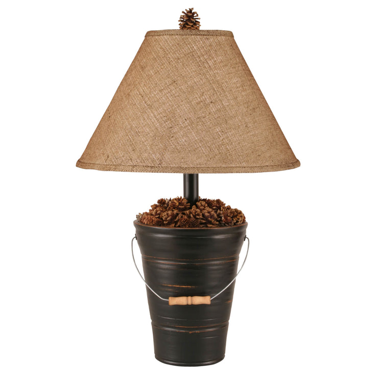 Distressed Black Bucket of Pine Cones Table Lamp