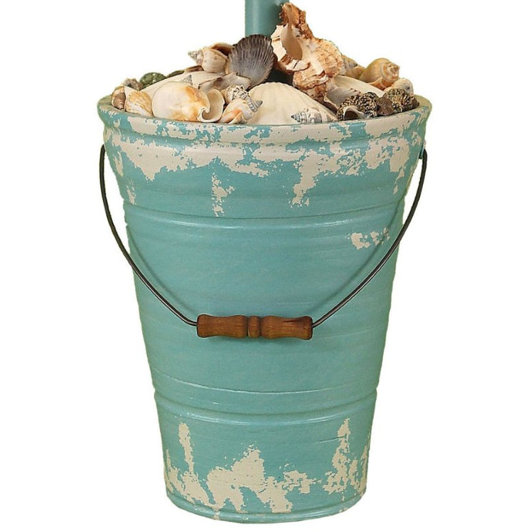 Tattered Turquoise Bucket of Shells Table Lamp Base Close-up