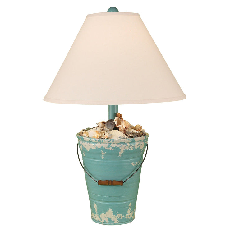 Tattered Turquoise Bucket of Shells Table Lamp
