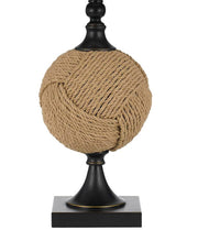 Burlap Rope Wrapped Table Lamp Base Close-up