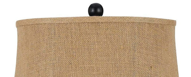 Burlap Rope Wrapped Table Lamp Shade Close-up
