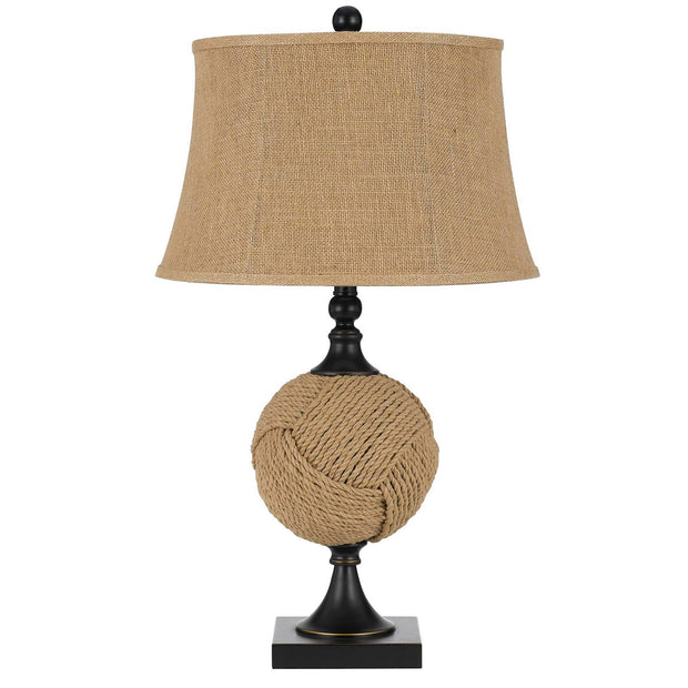 Burlap Rope Wrapped Table Lamp