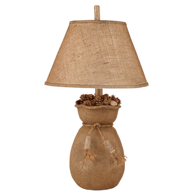 Burlap Sack of Pine Cones Table Lamp