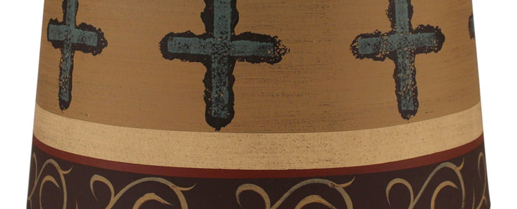Cross Band Burnt Umber Drum Lamp Shade Close-up