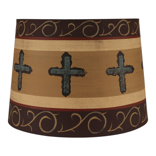 Cross Band Burnt Umber Drum Lamp Shade