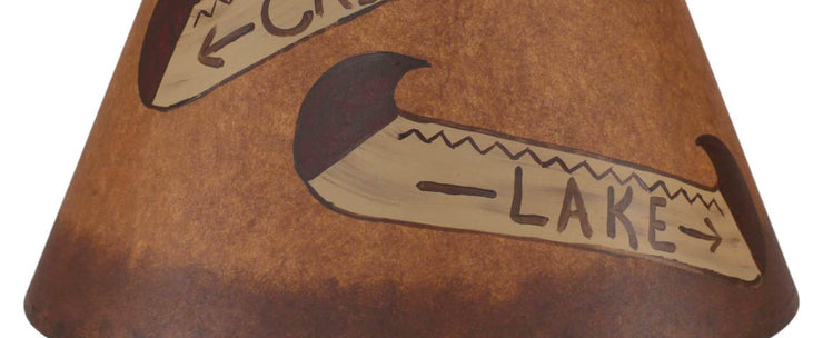 Double Canoe Signs Stained Band Lamp Shade Close-up