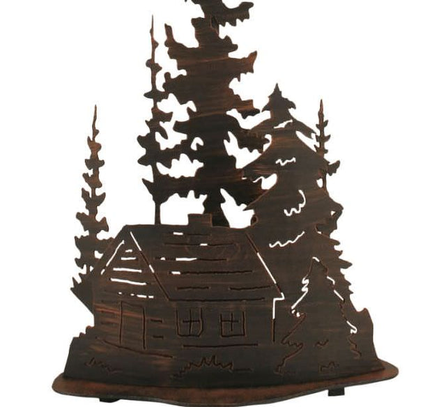 Cabin and Trees Table Lamp Base Close-up