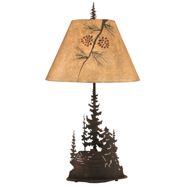 Cabin and Trees Table Lamp