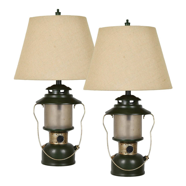 Camp Lantern Table Lamp with Night Light Set of 2