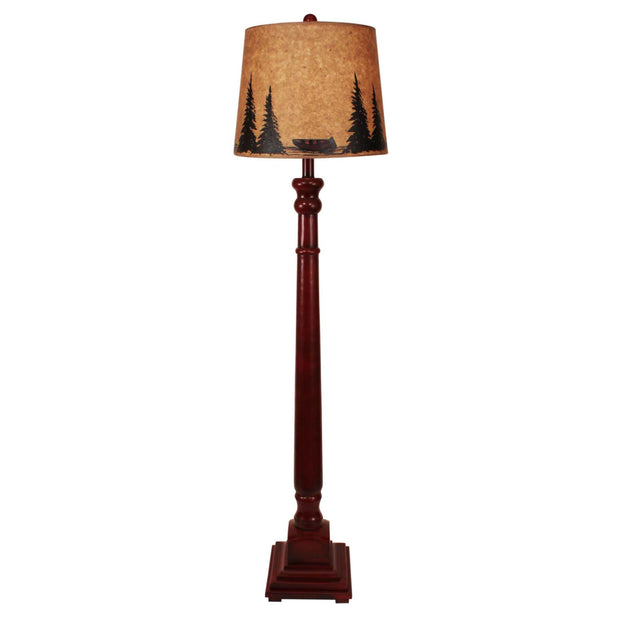 Candlestick Floor Lamp with Canoe & Pines Shade