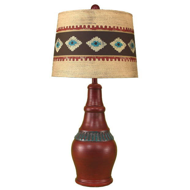 Casual Pot Table Lamp w/ Southwestern Shade