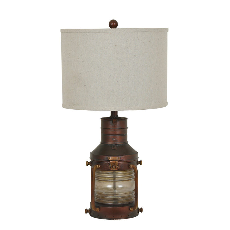 Copper Lantern Table Lamp with Night Light