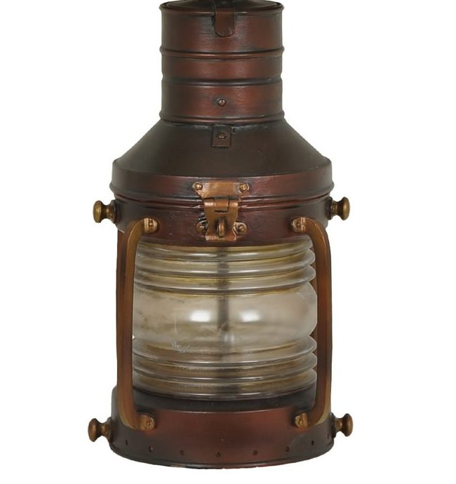Copper Lantern Table Lamp with Night Light Close-up