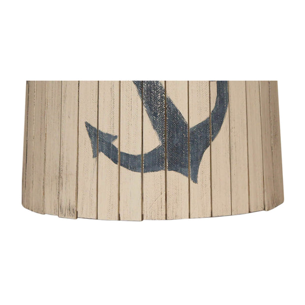 Cottage Wood Panel Navy Anchor Lamp Shade Close-up