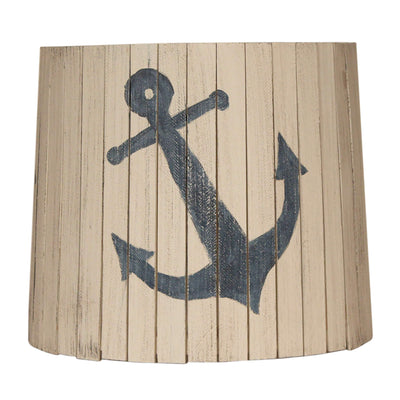 Cottage Wood Panel Navy Anchor Lamp Shade